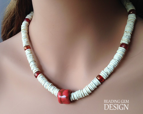 ostrich eggshell and Kazuri bead necklace modeled copy