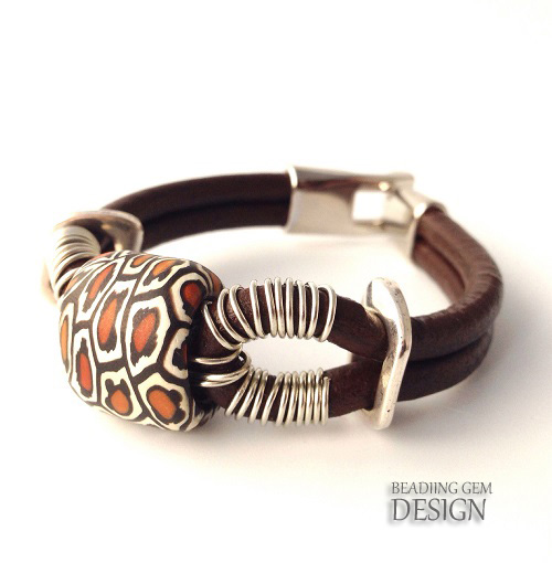 sammunat polymer bead leather bracelet