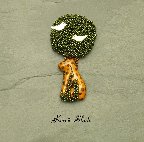 kerrie slade kazuri cheetah tree brooch