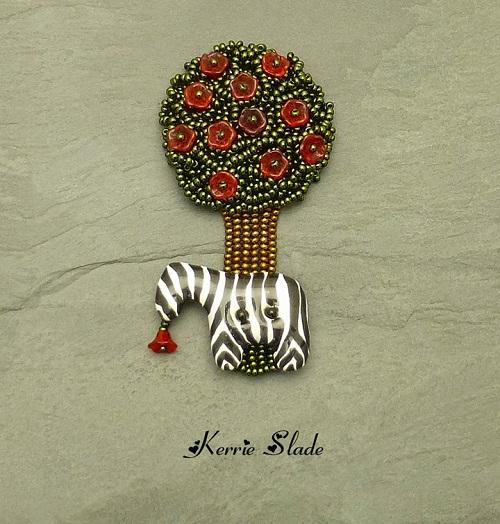 kerrie slade kazuri zebra tree brooch