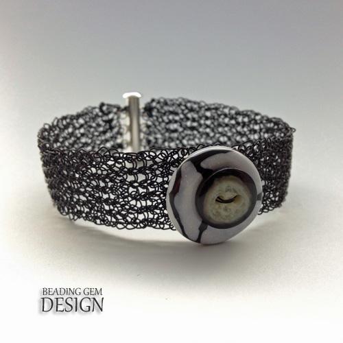 wire crochet black bracelet Kazuri button LOGO
