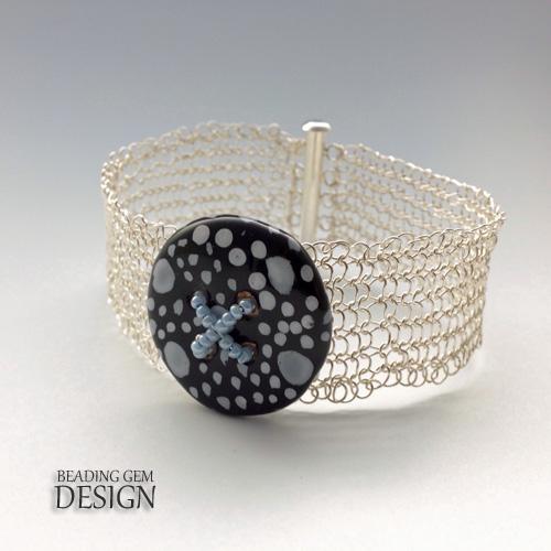 wire crochet silver bracelet Kazuri button